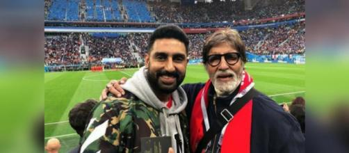 Amitabh and Abhishek Bachchan's photos from FIFA semi-final will ..(Image via Junior B/Instagram)