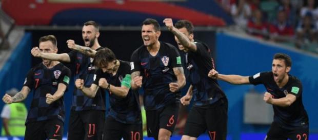 L'esultanza dei giocatori croati dopo una vittoria delle fasi finali di Russia 2018.