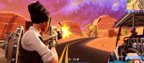 Muselk trying on the new ATK and map location in 'Fortnite.' - [Image source: Muselk/YouTube]