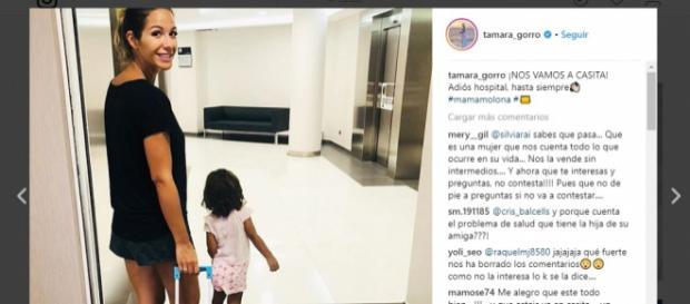 La hija de Tamara Gorro se recupera después de haber sido hospitalizada durante dos días