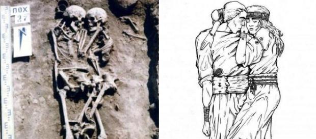 Esqueletos de casal da pré-história foram encontrados abraçados na Ucrânia (Crédito: East2West News)