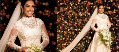 Amanda Djehdian vestida de noiva, no dia de seu casamento.