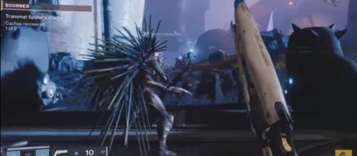 This spiked fellow is actually an ally in 'Destiny 2's' 'Forsaken.' [Image source:xHOUNDISHx/YouTube]