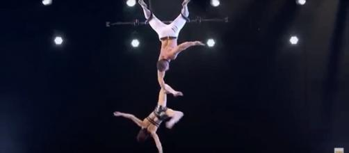 An 'America's Got Talent' performance becomes deadly serious for Mary and Tyce of Duo Transcend. [Image source: AGT - YouTube]