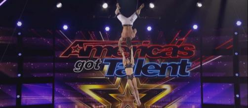 As a couple put on an amazing trapeze performance, things went wrong. [Image America's Got Talent/YouTube]
