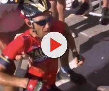 Vincenzo Nibali a terra sull'Alpe d'Huez