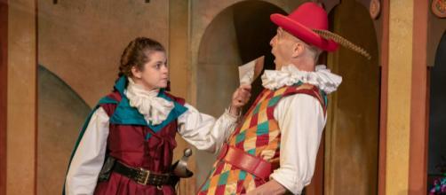 Izzie Steele as Beatrice Rasponi and James Michael Reilly as Truffaldino. - [Photo credit: Jerry Dalia, STNJ, used with permission]
