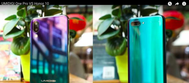 A side-by-side comparison between UMIDIGI One Pro and the Honor 10. YouTube/UMIDIGI