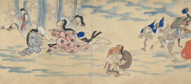 Rollo ilustrado del desfile nocturno de los cien demonios (detalle) Periodo Edo, siglo XIX Miyoshi City