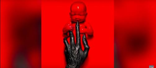 "Creepy artwork from next season of ""American Horror Story"" is evocative of a toddler Anti-Christ. [image via Clevver News/YouTube ]"