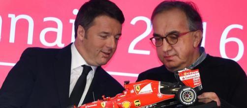 Sergio Marchionne in compagnia di Matteo Renzi