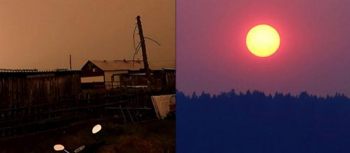Na Sibéria, fenômeno praticamente transformou o dia em noite (Crédito: Siberian Times)