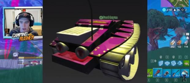 Camping Rusher showing the leaked 3D render of the tank. [Image source:TheCampingRusher - Fortnite/YouTube]