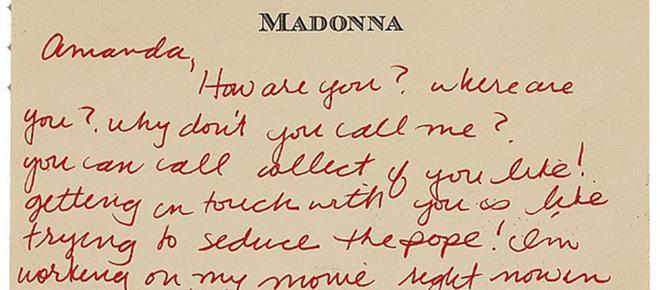 Subastan cartas de amor de Madonna a la modelo Amanda Cazalet