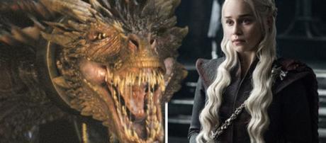 Daenerys e seu dragão em Game of Thrones