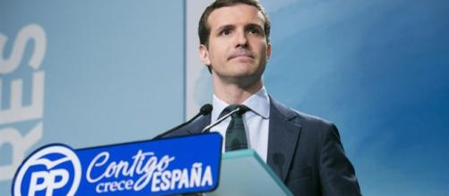 Pablo Casado, durante la rueda de prensa en el Comité Ejecutivo Nacional del PP (EFE)