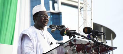 Soumaïla Cissé, principal opposant au président sortant IBK dans un meeting à Bamako.