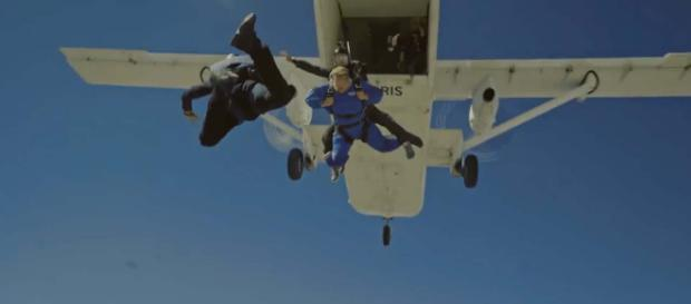 British comedian James Corden goes skydiving with Tom Cruise. [Image The Late Late Show with James Corden/YouTube]