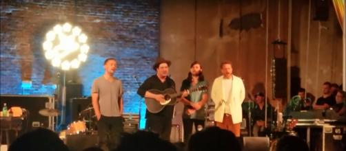 Mumford and Sons surprise and delight fans as secret headliners at the 2018 Newport Folk Festival. - [Tricia Cote / YouTube screencap]