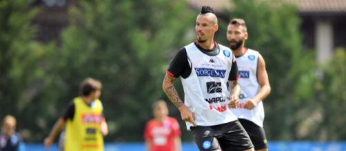 Marek Hamsik del Napoli in azione in allenamento