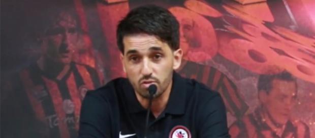 Gianluca Grassadonia, nuovo allenatore del Foggia Calcio, durante la conferenza stampa di presentazione