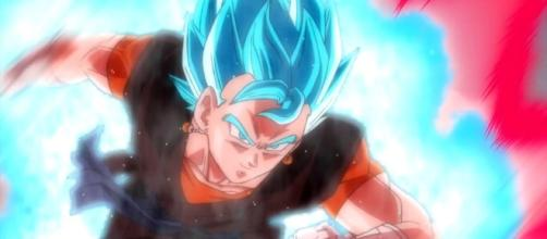 Goku and Vegeta turn into Vegito. [image source: Official Channel of Super Dragon Ball Heroes Japan/ YouTube]