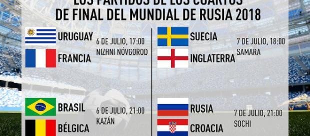 Definidos los cruces de cuartos de final del Mundial de Rusia 2018