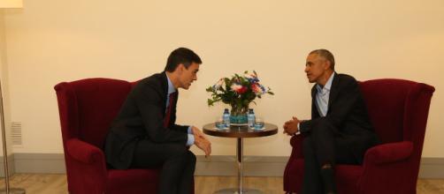 Obama y Sánchez mantienen un reunión relámpago en un hotel de la capital