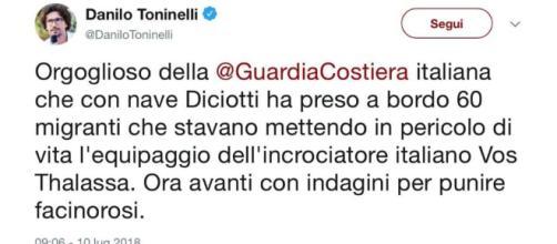Danilo Toninelli dice che la Vos Thalassa è un incrociatore - giornalettismo.com