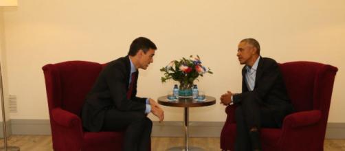 MADRID / Breve encuentro entre el presidente Pedro Sánchez y Barack Obama
