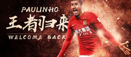 Paulinho retorna ao Guangzhou Evergrande.