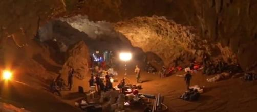 Tham Luang cave where a coach and 12 boys from a soccer team prepare for rescue. - [ CNN / YouTube screencap]