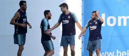Messi, Alba, Busquets y Piqué entrenaron en Barcelona