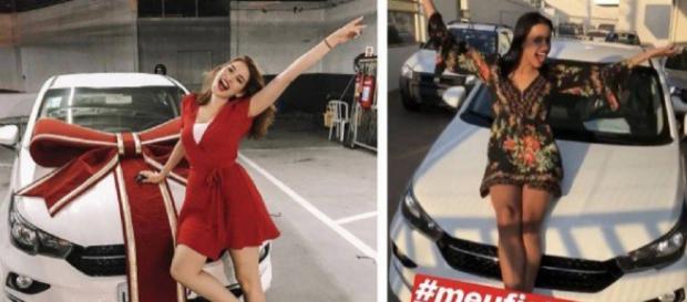Ana Clara e Gleici Damasceno recebem seus carros do BBB (Reprodução)