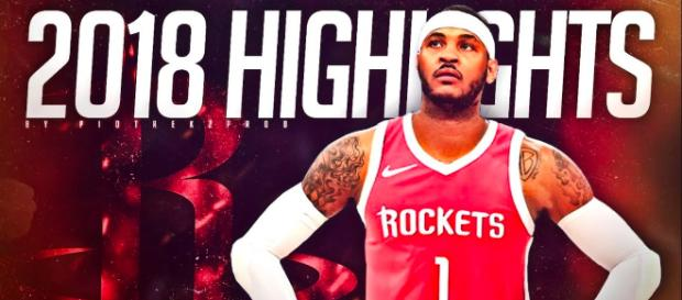 Image of Carmelo Anthony in a Rockets uniform. - [piotrekzprod channel / YouTube screencap]