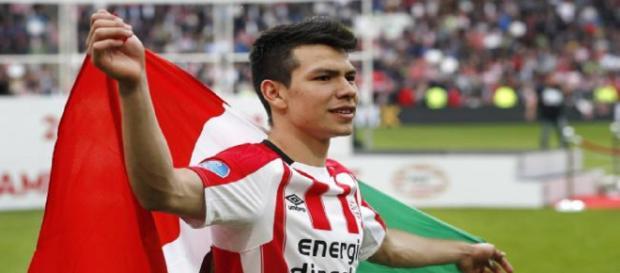"""""""Chucky"""" Lozano goleador del PSV Eindhoven."""