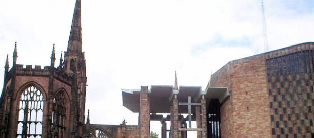 Two drunken men scaled the tower pictured above of the Coventry Cathedral ruins and had to be rescued. [Image: Tornad/Wikimedia]