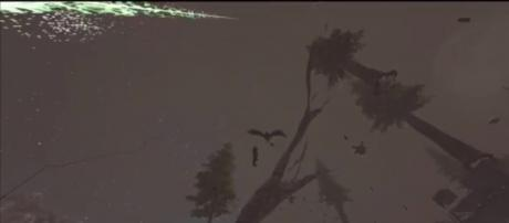 A player waiting to be swooped down by a Ptera in 'ARK.' - [Danne / YouTube screencap]