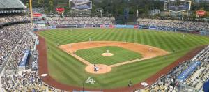 View of the Dodger Stadium field from upper deck. [Image credit – Junkyardsparkle, Wikimedia Commons]