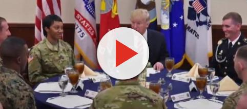 Donald Trump discussing military parade with officers. [Image courtesy – YouTube, Time]