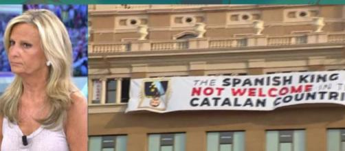 La pancarta contra el Rey Felipe VI