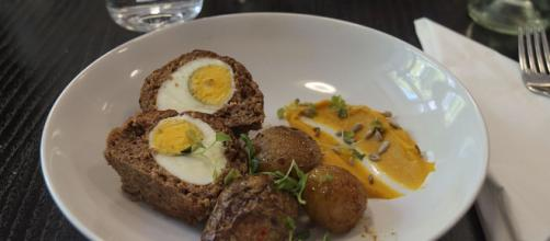 Scotch eggs at restaurant Loop in Helsinki, Finland via Wikimedia Commons