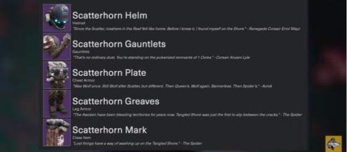 The Scatterhorn armor set for the Titan. [Image source: xHOUNDISHx/YouTube]
