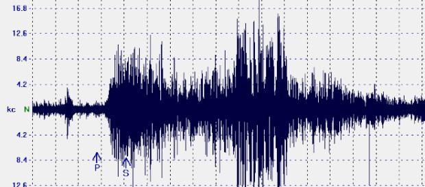 Sismogramma di un terremoto di media intensità.
