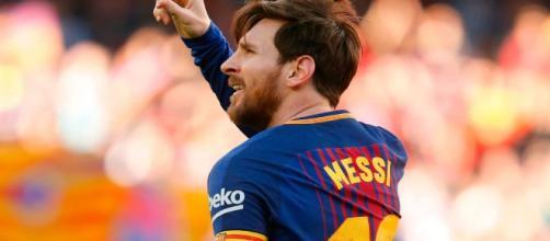 Lionel Messi autor del gol número 6000 del F. C. Barcelona.