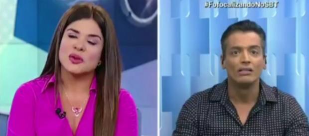 Mara e Leo Dias discutem ao vivo no Fofocalizando