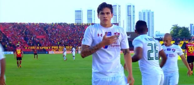 Artilheiro do time, Pedro é o destaque do Fluminense em 2018 (Foto: Reprodução/Sportv)