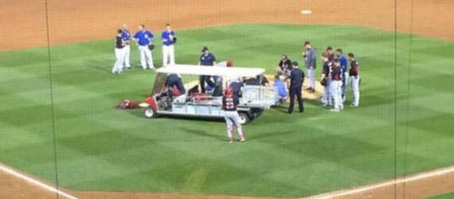 Aroldis Chapman struck in head by line drive; game cancelled | (Image via sportingnews.com/Twitter)