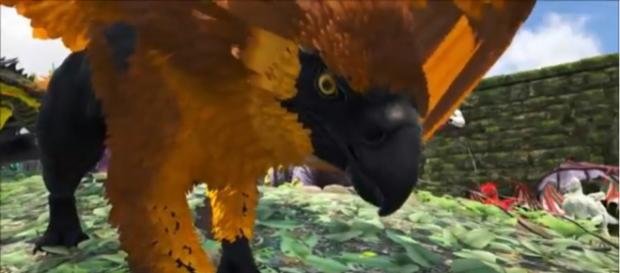 A gold-colored griffin in 'ARK: Survival Evolved.' [Image source: KingDaddyDMAC/YouTube]