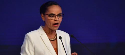 Marina Silva durante o debate na Rede Bandeirantes